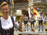 German Woman Holding Stein of Beer  Oktoberfest