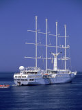 Windstar Cruise Ship in Mykonos Harbor  Greece