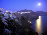 Moonrise on Santorini  Greece