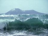 Waves with Anak Krakatoa Volcano Behind  Sunda Straits  Indonesia