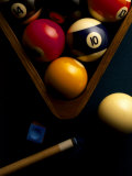 Billiard Balls  Chalk  Cue  and Rack on Table Felt