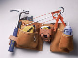 Tool Belt with Hammer  Tape Measure  Caulk Gun
