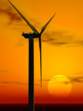Wind Turbine at Sunset  Computer Generation