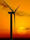 Wind Turbine at Sunset  Computer Generation