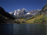 Mountains with Sky and Water  Maroon Bells  CO