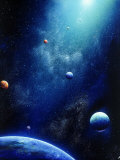 Space Illustration of Illuminated Planets