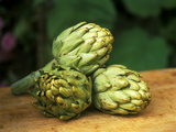 "Globe Artichoke ""Camus"" on Wooden Table"