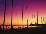 Santa Barbara  CA  Sailboats on Beach at Sunset