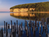 Sunset Light on the Cliffs on Big Bay De Noc at Fayette State Historic Park  Michigan  USA