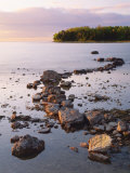 Sunset Light on the Rocky Shore of Green Bay at Peninsula State Park  Wisconsin  USA