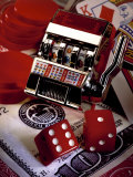 Dice  Slot Machine  Chips and Card on $100 Bill