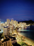 Aerial of Waikiki Beach at Night  HI