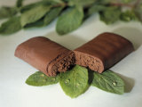 Chocolate Nutrition Bar on Mint Leaves