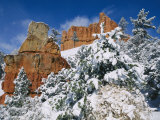 Red Rock Formations Poke Through a Late Winter Snow