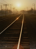 Morning Sun Shines on Railroad Tracks