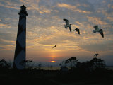 Cape Lookout Lighthouse Silhouetted against the Sky