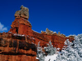 Red Rock Formations in a Winter Landscape