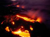 Lava from Kilauea Swirls Before Flowing into the Ocean Near Kamoamoa Village