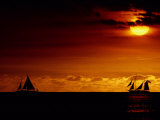 Sailboats Silhouetted on the Pacific Ocean at Twilight