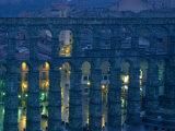 Twilight View of the Roman Aqueduct in Segovia