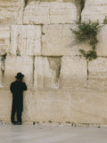 A Jewish Man Stands at the Northern Section of the Wailing Wall