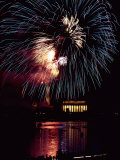 View from Across the Potomac River of a Fireworks Display over the Lincoln Memorial