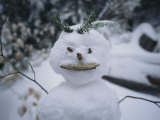 A Smiling Snowman with Twig Arms
