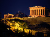 Classic Night View of the Parthenon and Surrounding Acropolis