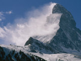 Snow Blows off of the Matterhorn Above Zermatt