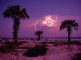 Lightning Illuminates the Purple Sky over Cumberland Island National Seashore