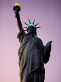 Twilight View of the Illuminated Statue of Liberty