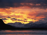 Sunset over Lowell Glacier  Alsek River  Alaska