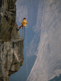 Rapeling Down a Cliff with El Capitan in Background  Yosemite National Park  California