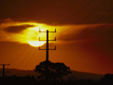 Electric Power Lines at Sunset in the Yaloum Valley