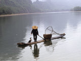 Cormorant Fisherman on Bamboo Raft  Li River  Guilin  Guangxi  China