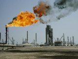 A Flame Spurts from an Oil Refinery in Saudi Arabia