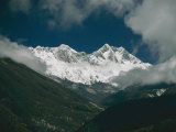 Mount Everest (Behind Left)  Mount Lhotse (Front Right)  and the Lhotse Wall