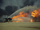 An Oil Field Still in Flames One Year after the End of the Gulf War