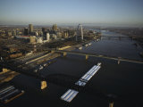 Aerial View of Barges Traveling the Mississippi River Past St Louis