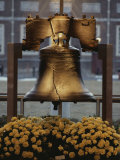 Close View of the Liberty Bell  and Flowers Beneath It