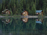 Lake Ohara Lodge Cabins Reflected on the Surface of Lake Ohara