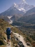 A Hiker Treks Toward Mount Ama Dablam