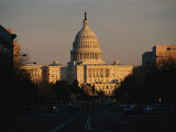 View of the Capitol at Sunset Looking East on Pennsylvania Avenue