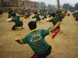 Children Practice Kung Fu in a Field at the Ta Gou Academy