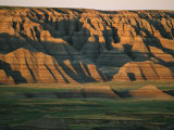 Sunset on the Eroded Land Formations of the Badlands