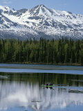 Two Kayakers Paddling on Byers Lake with Alaska Range in Background