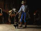 A Cowboy Playfully Lassoes a Kitten