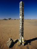 A Garden Gnome at a Bus Stop in an Outback Desert Town
