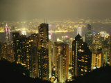 The Hong Kong Skyline Seen from the Peak at Night