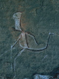 Detail of a San Mural Depicting a Running Man with a Large Head